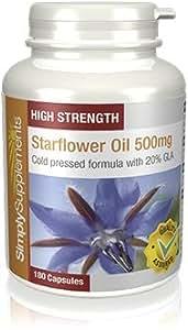 Olio di Borragine 500mg|Aiuta il benessere del cuore e l'equilibrio ormonale | 180+180 Capsule (360 in totale) SimplySupplements