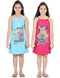 Girls Cotton Barbie Printed Nighty Slips By Red Rose-Pack of 2Pc.