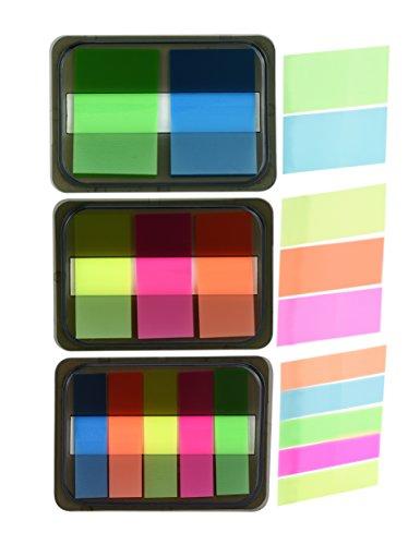 FiveSeasonStuff 6 Set Fluoreszierende Haftstreifen / Haftnotiz Flags Tabs Streifen mit Pop-up-Spender, schillernden Page Markers / Haftmarker, Textstreifen, Index-tabs, Notizblöcke Memo Polster mit Box (verschiedene Farben, 3 Größen, 400 Flaggen)
