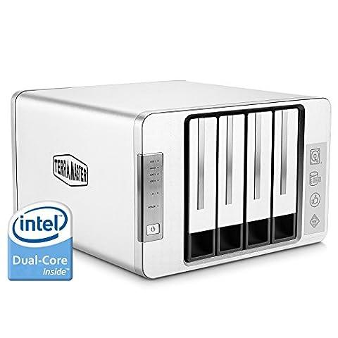 TerraMaster F4-220 4-Bay NAS Gehäuse Server mit Intel-Dual-Core 2,41GHz CPU 2GB-Speicher, PLEX DLNA Media Server, RAID Festplattengehäuse