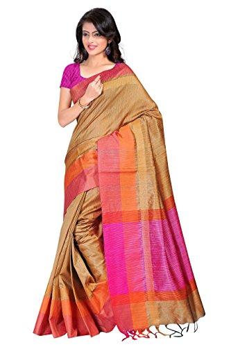 Fabattic Women'S Tassar Silk Saree With Blouse Piece (Chi16564C_Beige)