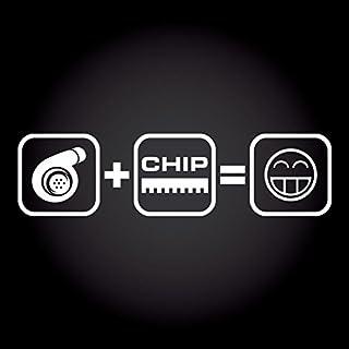 Turbo + Chip = Fun Smiley Aufkleber 20,0 cm x 5,2 cm JDM OEM Tuning Sticker Decal 30 Farben zur Auswahl