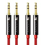 Cable Jack Macho Macho 3.5mm [1.2M-2 Pack] iVANKY Cable Audio con Sonido Hi-Fi, Carcasa de Cobre Cable Auxiliar Coche para iPads, iPods, Echo Dot, MP3, Móviles, Auriculares, Altavoz y Más-Rojo, Nylon
