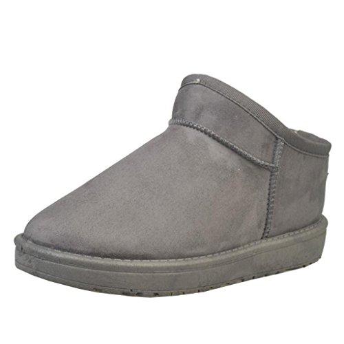 Mashiaoyi Donna Round-Toe Piatto Senza Chiusura Pelliccia Boots Grigio