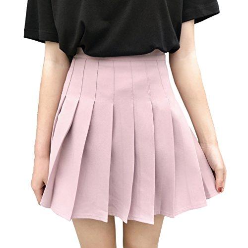 Hoerev Frauen Mädchen kurze hohe Taille gefaltete Skater Tennis Schule Rock, Pink - 32/ XS