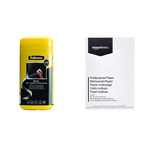 Fellowes 99703 - Dispensador 100 toallitas limpiadoras Pantalla & AmazonBasics Papel Multiusos para Impresora A4 80gsm, 1 Paquete, 500 Hojas, Blanco