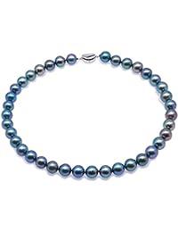 Jyx – Perle Magnifique 10,5–11 mm Bleu canard rond Collier de perles 652d2b393afe