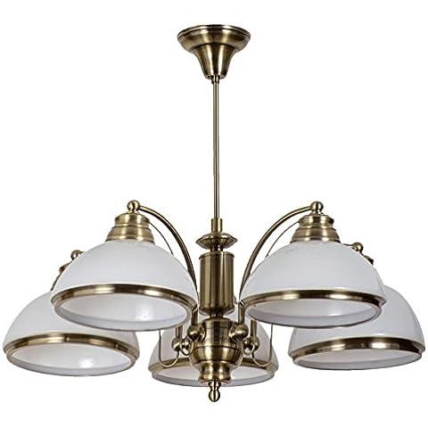 Lámpara de techo, lámpara colgante, de metal color bronce antiguo, estilo vintage, rústico, plafones de vidrio satinados, para salón, comedor, 5 luces, diametro -58cm E27 5 x 60 W 230 V