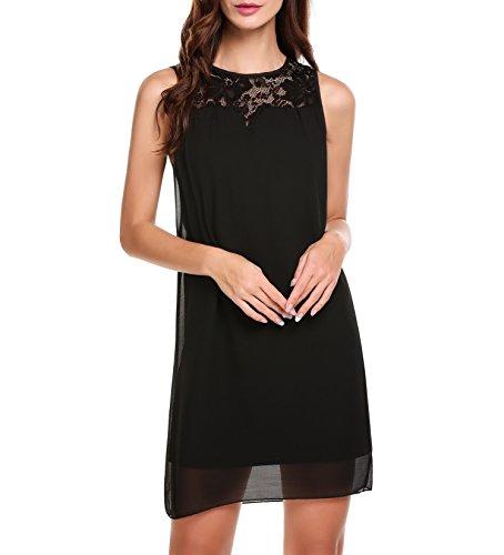 Beyove Damen Sommerkleid Elegant Kurz Chiffonkleid Casual Abendkleid mit Spitze Partykleid Sexy Hochzeit Strand