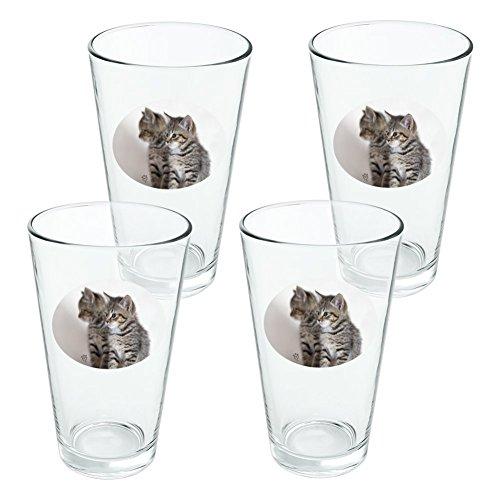 Domestic Shorthair Chat Image Miroir fantaisie 453,6 gram Pinte à boire en verre trempé - Lot de 4