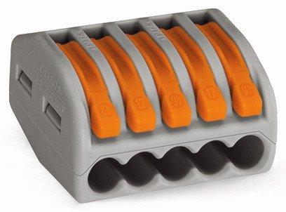 Preisvergleich Produktbild 40x WAGO 222-415 5-L-Verbindungsklemmem.Betätigungshebeln 0,08-2,5qmm grau