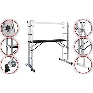 Todeco Escalera de Andamios, Producto Portátil para la Mejora de su Hogar, Multipropósito, Barras de Equilibrio, Pies Antideslizantes, Aleación de Aluminio, Carga Máxima 150kgs
