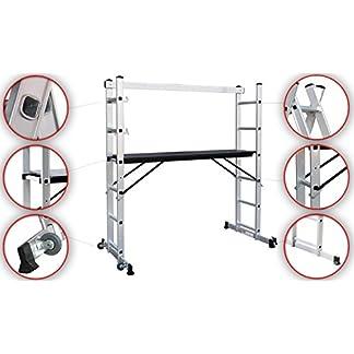 Sotech Andamio Escalera, 3 en 1 de Aluminio Multipropósito Combinación y Andamio Plataforma de Trabajo, Andamio, 171 x 160 x 40 cm, EN 131, Carga máxima: 150 kg