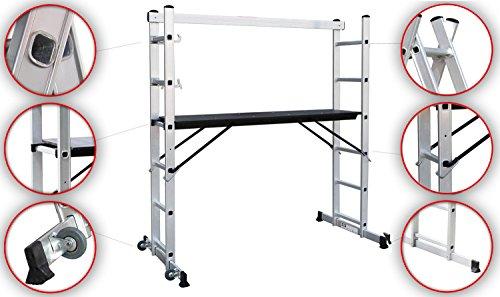 Sotech Andamio Escalera, 3 en 1 de Aluminio Multipropósito Combinación y Andamio Plataforma de Trabajo...