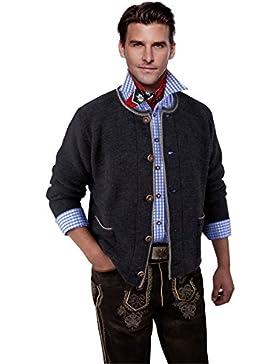Trachtenjacke Herren - Trachten-Strickjacke - Trachtenjanker Grau/Anthrazit - Trachtenstrickjacke für jede Trachtenlederhose