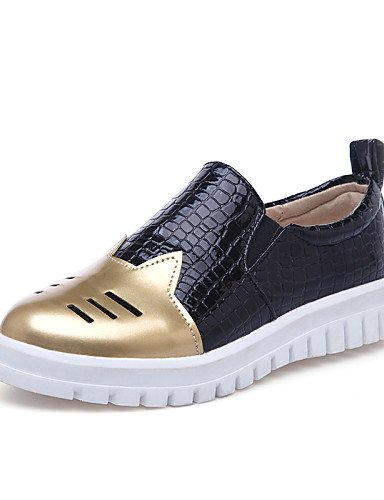 ZQ gyht Scarpe Donna - Mocassini - Tempo libero / Casual - Comoda / Punta arrotondata - Piatto - Finta pelle - Argento / Dorato , golden-us10.5 / eu42 / uk8.5 / cn43 , golden-us10.5 / eu42 / uk8.5 / c silver-us10.5 / eu42 / uk8.5 / cn43