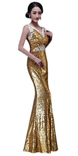 Bigood Femme Robe de Soirée Mermaid Princesse Cocktail Peplum Moulante Swing Slimmer Or