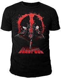 Deadpool Marvel Comics–Dead Pool–camiseta para hombre–Logo Attack (Negro) (S de XL)