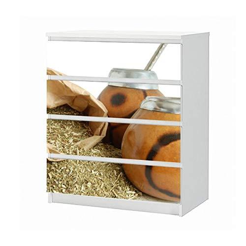Set Möbelaufkleber für Ikea Kommode MALM 4 Fächer/Schubladen Tee Mate Blätter Diät Gesundheit Küche Aufkleber Möbelfolie sticker (Ohne Möbel) Folie 25B965