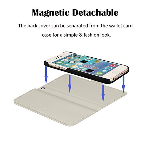 xhorizon FX Prämieleder Folio Case Magnetisch Wristlet Mappen-Geldbeutel Flip Multiple Card Slots Hülle für iPhone 5/5S mit einem 9H 0.25mm Hartglas Displayschutzfolie Weiß mit 9H Hartglas Schutzhülle
