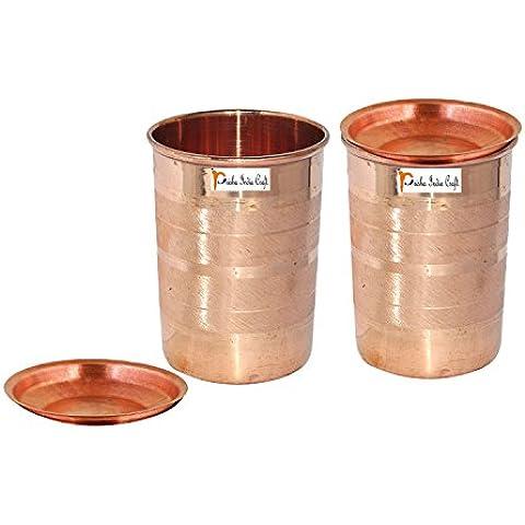 Set di 2 - Prisha India Craft ® cilindretto di rame con coperchio volume 300 ml / 8.4535 OZ I viaggiatori tazza di rame I set di bicchieri di rame , Drinkware set di vetreria - Regalo di natale - Bicchiere Viaggiatore