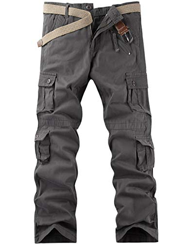 Pinkpum Arbeitshosen Männer Military Cargohose Jogger Pants Wanderhose Tactical Hose Combat Outdoor-Hose Trekkinghose Grau 40W