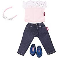 Gotz 3402846 Standing Doll Combo Denim Cat - Size XL - Dolls Clothing / Accessory Set - Suitable For Standing Dolls Size XL (45 - 50 cm)