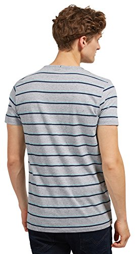 Tom Tailor Denim für Männer T-Shirt gestreiftes T-Shirt mit Brusttasche slightly creamy