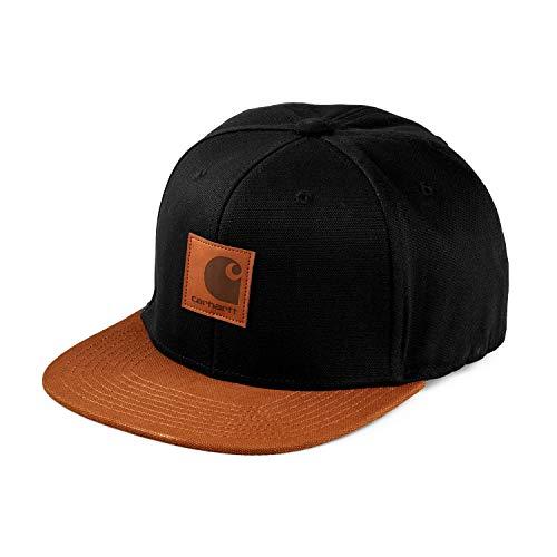 Carhartt WIP Logo Cap Unisex Damen Herren Snapback Baseball Mütze Kappe mit 7kmh Aufkleber Schwarz