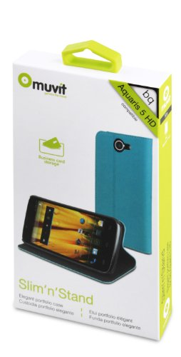 """Muvit MUSNS0013 - Funda slim folio con función soporte para bq Aquaris 5"""" HD, azul/negro"""