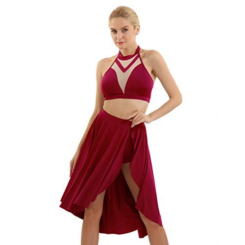 inhzoy Tanzkleidung Damen Salsa Ballettkleid Sexy Tanz Outfit Tanzanzug Ärmellos Crop Top + Asymmetrisch Tanzrock + Kurz Short Dancewear Rot X-Large
