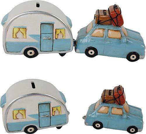 Topshop24you wunderschöne Urlaubskasse Sparbüchse,Sparschwein Reisekasse,Spardose 2er Set Auto & Wohnwagen