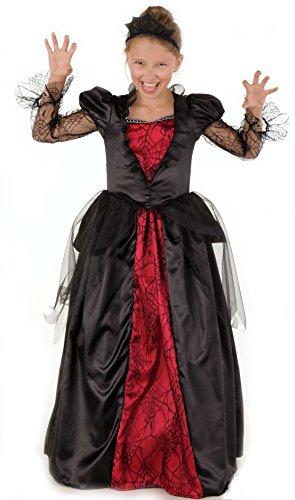 Magicoo Königin Vampir Kostüm Kinder Mädchen mit Kragen - schickes Halloween Vampirkostüm Kind (134/140)