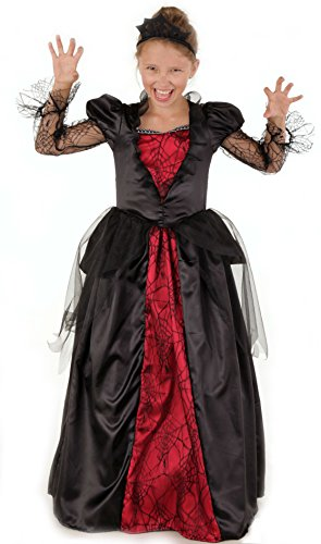 Vampir Königin - Vampir Kostüm für Kinder Mädchen Halloween rot-schwarz inkl. Diadem, Vampirin Kostüm (122/128) (Kinder Königin Kostüme)