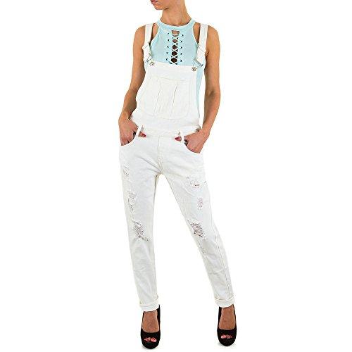 Damen Jeans Hose Jeanshose Destroyed Latzhose Weiß 40
