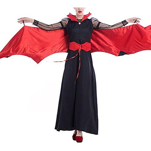 Zhhlinyuan Qualität Novelty Special Temperament Feather Clothes Bat Ghost Halloween Cosplay Costumes für Women (Maid Kostüm Ghost)