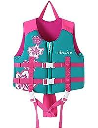 Hony Kinder Schwimmanzug Jacke - Jungen Mädchen Schwimmhilfen Bademode Einstellbar Schwimmen Lernen Schwimmbad Tauchen Strand Surfen Sicherheit Rosa Blau Orange
