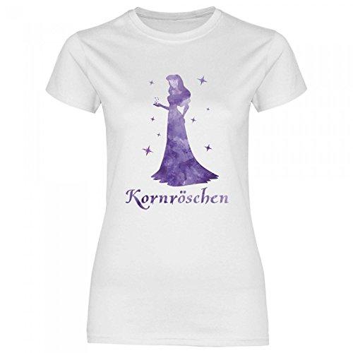 Royal Shirt a52 Damen T-Shirt Kornröschen | Party Feiern Korn Alkohol Funshirt Girly, Größe:M, Farbe:White (Mädchen T-shirt Trinken)