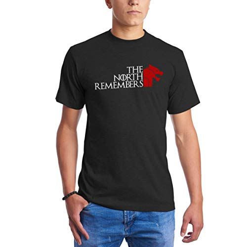 The North Remembers Blood Red Wolf Head GOT Game of Thrones Blut Schwarz T Shirts für Männer XL - Blut Head T-shirt