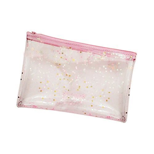 Dosige 1 Piezas Transparent Jelly Stars brillantes lápices Bolsa reflectante de estudiante Bolsa de cosméticos Bolsa de lavado Estuches escolares niño Estuches de maquillaje Rosa 21*14cm