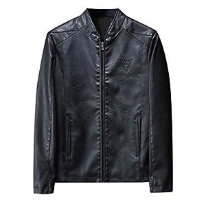 Kunstlederjacke Herren Herbst Winter New Retro Solid Kragen Jacke Pure Long Sleeved Herren Daunenjacke Mantel