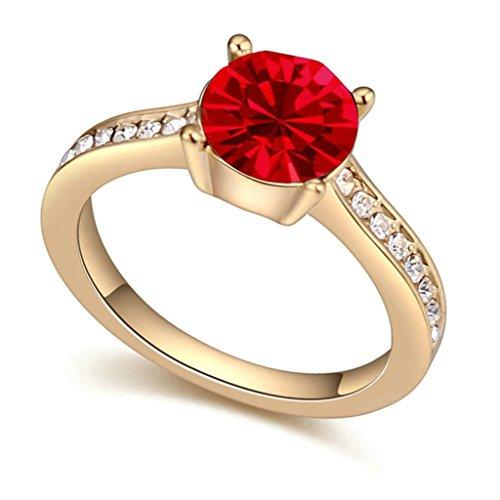 AieniD Anelli Donna Matrimonio Placcato Oro Solitaire Tondo Zirconia Cubica Fidanzamento Anelli per Donne Misura 15