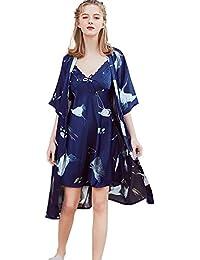 Conjuntos De Pijamas para Mujeres Satén Ropa De Dormir Kimono Camisón Estilo Largo Casual Damas Ropa