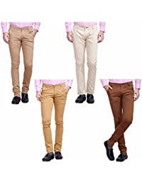 Nimegh Cream, Brown, Wine And Beige Color Cotton Casual Slim Fit Trouser For Men's (Pack Of 4)