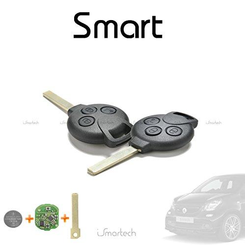 Schlüssel Autoschlüssel Fernbedienung 3Tasten für Smart ForTwo 450451Forfour Roadster mit Chip Transponder Messer und Batterie