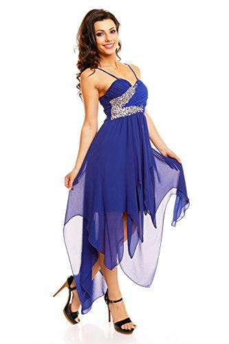 Abiballkleid vorne kurz hinten lang Vokuhila Maxi Abend Cocktail Kleid mit Schleppe Strass blau M -