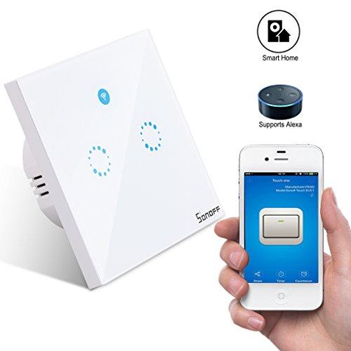 Sonoff Lichtschalter,Smart Home Touch Lichtschalter ,Smart Wifi Timer Schalter Arbeit Mit Alexa / Nest(Verbesserte Version) 2 weg (Ferngesteuerte Lichtschalter)