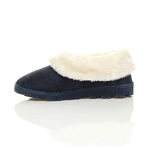 Damen Winter Pelz Gefüttert Luxuriöses Geschenk Bequem Flach Schuhen Hausschuhe Größe Marineblau