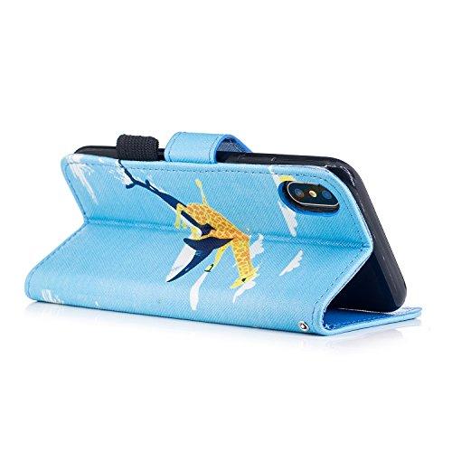 inShang Hülle für iPhone X 5.8 inch mit integriertem Brieftaschen-Design, iPhoneX 5.8inch cover case mit Standfunktion. Giraffe shark