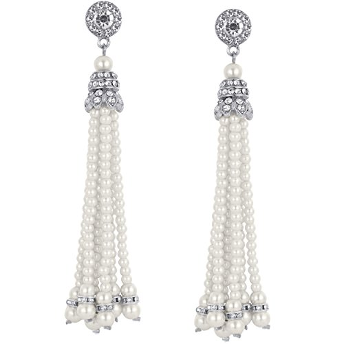 Artideco, orecchini pendenti con perle e cristalli, orecchini da sposa stile vintage, ideali per festa anni '20, il grande gatsby e acciaio inossidabile, colore: silver, cod. ar-earring002-silver